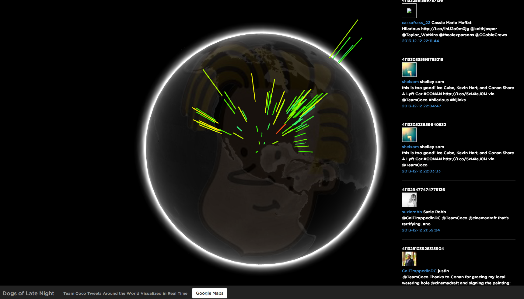 #TeamCoco Geotagged Tweets Visualized in 2D and 3D (WebGL) Using Twitter's Streaming API